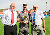 Lincoln City manager Danny Cowley, centre, is presented with the Community Festival of Lincolnshire trophy by Lincoln United chairman Rob Bradley, left, and Gainsborough Trinity vice-chairman Geoff Holmes<br /> <br /> Photographer Chris Vaughan/CameraSport<br /> <br /> Football Pre-Season Friendly (Community Festival of Lincolnshire) - Gainsborough Trinity v Lincoln City - Saturday 6th July 2019 - The Martin & Co Arena - Gainsborough<br /> <br /> World Copyright © 2018 CameraSport. All rights reserved. 43 Linden Ave. Countesthorpe. Leicester. England. LE8 5PG - Tel: +44 (0) 116 277 4147 - admin@camerasport.com - www.camerasport.com