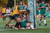 James Cordy Redden of Ealing Trailfinders scores the opening try during the Greene King IPA Championship match between Ealing Trailfinders and London Irish Rugby Football Club  at Castle Bar, West Ealing, England  on 1 September 2018. Photo by David Horn.