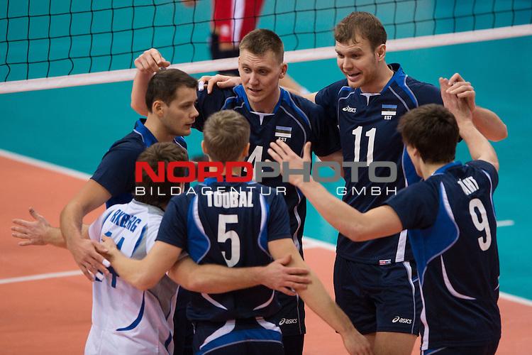 05.01.2014, MHP Arena, Ludwigsburg<br /> Volleyball, Qualifikation WM 2014, Estland vs. Kroatien<br /> <br /> Jubel Rait Rikberg (#14 EST), Keith Puparth (#3 EST), Ardo Kreek (#4 EST), Oliver Venno (#11 EST), Robert T&auml;ht / Taeht (#9 EST), Kert Toobal (#5 EST)<br /> <br />   Foto &copy; nordphoto / Kurth