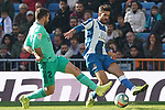 Real Madrid's Dani Carvajal (l) and RCD Espanyol's Didac Vila during La Liga match. December 7,2019. (ALTERPHOTOS/Acero)