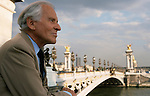 Jean D'Ormesson on the Alexandre III bridge in Paris.