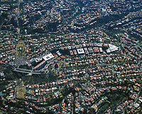 aerial photograph of residential and commercial real estate in the Bosques de las Lomas district, Mexico City