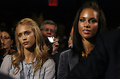 New York, NY - September 22, 2009 -- United States Jessica Alba (L) and Alicia Keys watch United States President Barack Obama deliver remarks at the Clinton Global Initiative at the Sheraton Hotel in New York City on Tuesday, September 22, 2009.   .Credit: John Angelillo / Pool via CNP