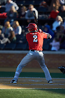 Mason Fox (2) of the Gardner-Webb Runnin' Bulldogs at bat against the Wake Forest Demon Deacons at David F. Couch Ballpark on February 18, 2018 in  Winston-Salem, North Carolina. The Demon Deacons defeated the Runnin' Bulldogs 8-4 in game one of a double-header.  (Brian Westerholt/Four Seam Images)