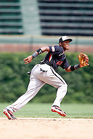 August 8, 2009:  Shortstop/Pitcher Yordy Cabrera (9) of the Baseball Factory team during the Under Armour All-America event at Wrigley Field in Chicago, IL.  Photo By Mike Janes/Four Seam Images