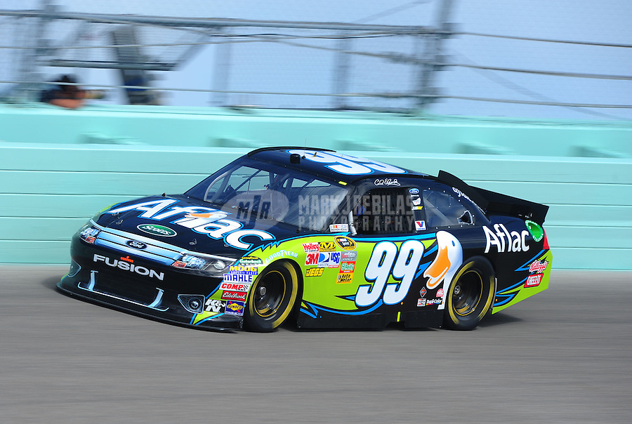 Nov. 19, 2011; Homestead, FL, USA; NASCAR Sprint Cup Series driver Carl Edwards during practice for the Ford 400 at Homestead Miami Speedway. Mandatory Credit: Mark J. Rebilas-