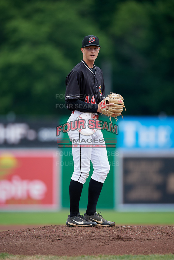 Batavia Muckdogs starting pitcher Dakota Bennett (44) gets ready to deliver a pitch during a game against the Williamsport Crosscutters on June 22, 2018 at Dwyer Stadium in Batavia, New York.  Williamsport defeated Batavia 9-7.  (Mike Janes/Four Seam Images)