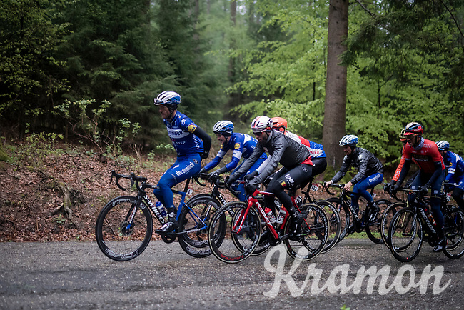 Dries DEVENYNS (BEL/Deceuninck-Quick Step) setting the tempo while tucking away his rain jacket<br /> <br /> 105th Liège-Bastogne-Liège 2019 (1.UWT)<br /> One day race from Liège to Liège (256km)<br /> <br /> ©kramon