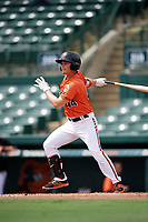 Baltimore Orioles Preston Palmeiro (44) at bat during an Instructional League game against the Tampa Bay Rays on October 2, 2017 at Ed Smith Stadium in Sarasota, Florida.  (Mike Janes/Four Seam Images)