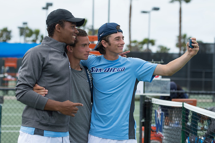 April 26, 2014; San Diego, CA, USA; San Diego Toreros player Geoffrey Fosso, Uros Petronijevic, Patrick Hall during the finals of the WCC Tennis Championships at Barnes Tennis Center.