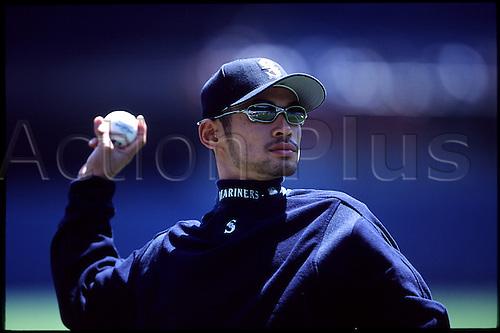05.05.2002,Ichiro Suzuki of the Seattle Mariners before the Mariners 10-6 victory over the New York Yankees at Yankee Stadium in Bronx, NY..