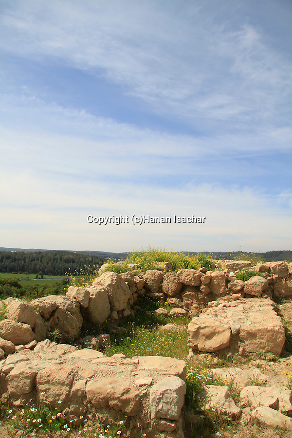 Israel, Shephelah, Haelah fortress at Khirbet Qeiyafa overlooking Haelah valley, remains of the city wall