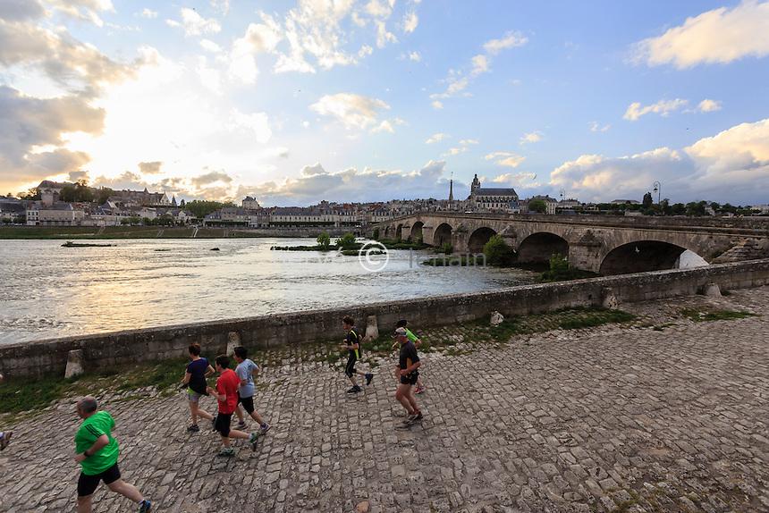 France, Loir-et-Cher (41), Blois, la Loire, le pont Jacques-Gabriel et sportifs // France, Loir et Cher, Blois, Loire, Jacques Gabriel Bridge and runneurs