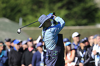 Actor Bill Murray tees off the 1st tee at Pebble Beach Golf Links during Saturday's Round 3 of the 2017 AT&amp;T Pebble Beach Pro-Am held over 3 courses, Pebble Beach, Spyglass Hill and Monterey Penninsula Country Club, Monterey, California, USA. 11th February 2017.<br /> Picture: Eoin Clarke | Golffile<br /> <br /> <br /> All photos usage must carry mandatory copyright credit (&copy; Golffile | Eoin Clarke)