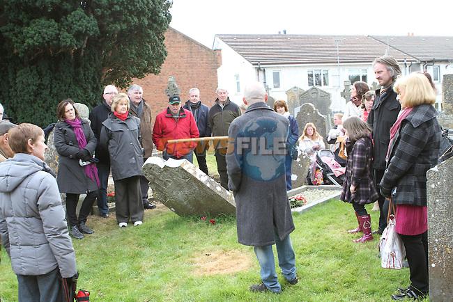 Brendan Matthews gives a history talk in Stamullen Graveyard...(Photo credit should read Jenny Matthews/NEWSFILE)...