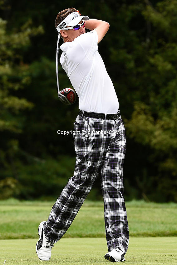 August 31, 2014 -  Norton, Mass. -  Ian Poulter drives his ball from the 14th tee box during the third  round of the PGA FedEx Cup playoffs, Deutsche Bank Championship, held at the Tournament Players Club in Norton Massachusetts. Eric Canha/CSM