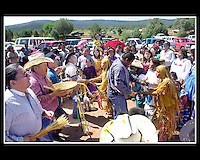"Family and friends help usher the girls into womanhood at the four-day Apache Sunrise Ceremony on the White Mountain Apache Reservation. This age old ceremony initates young Apache women in to womenhood and prepares them for the long journey through life. The Double Ceremony was sponsored by mom, Joycelyn Holden and Nathaniel and Denise Cosay.Sunrise ceremonies are held on both the White Mountainand San Carlos Apache Reservations beginning in May and carry through into the fall each year and the ceremony is the ""coming of age"" puberity rite which has been celebrated by the Apache for centuries."