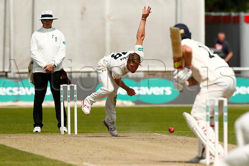 23.05.2016. Old Trafford, Manchester, England. Supersavers County Championship. Lancashire versus Surrey. Surrey bowler Stuart Meaker bowls at Lancashire all-rounder Tom Smith as Lancashire reach 90-0 at lunch.