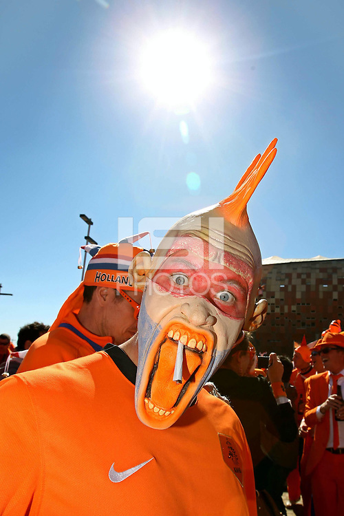 Holland fans outside the Soccer City stadium before the game against Denmark