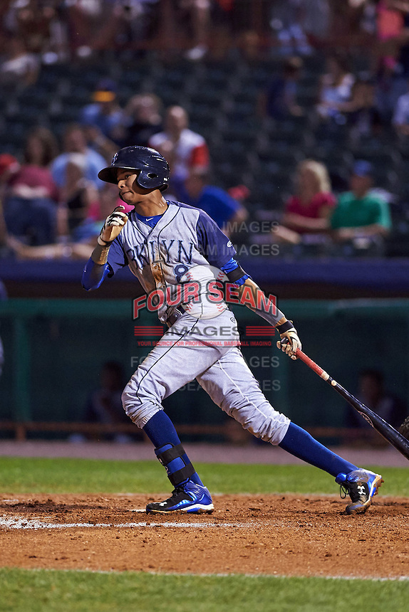 Brooklyn Cyclones shortstop Alfredo Reyes (8) at bat during a game against the Tri-City ValleyCats on September 1, 2015 at Joseph L. Bruno Stadium in Troy, New York.  Tri-City defeated Brooklyn 5-4.  (Mike Janes/Four Seam Images)