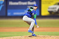 Lexington Legends pitcher Jaret Hellinger (14) delivers a pitch during a game against the Asheville Tourists at McCormick Field on July 1, 2019 in Asheville, North Carolina. The Tourists defeated the Legends 9-8. (Tony Farlow/Four Seam Images)