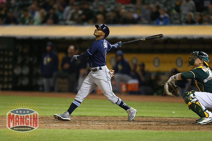 OAKLAND, CA - JULY 17:  Mallex Smith #0 of the Tampa Bay Rays bats against the Oakland Athletics during the game at the Oakland Coliseum on Monday, July 17, 2017 in Oakland, California. (Photo by Brad Mangin)