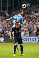 Kansas City, KS - Wednesday August 9, 2017: Ilie Sanchez, Jackson Yueill during a Lamar Hunt U.S. Open Cup Semifinal match between Sporting Kansas City and the San Jose Earthquakes at Children's Mercy Park.