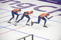OLYMPIC GAMES: PYEONGCHANG: 21-02-2018, Gangneung Oval, Long Track, Team Pursuit, Team Netherlands, Jan Blokhuijsen, Sven Kramer, Patrick Roest, ©photo Martin de Jong