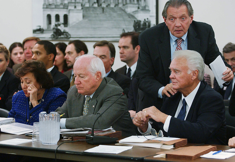 11/17/04.FOREIGN OPERATIONS APPROPRIATIONS CONFERENCE--Nita M. Lowey, D-N.Y., Jim Kolbe, R-Ariz., House Appropriations Chairman C.W. Bill Young, R-Fla., and aide Jim Dyer during the joint House-Senate conference on foreign operations appropriations, which will be the vehicle for the larger package as appropriators continued Wednesday to hash out the final details of an omnibus fiscal 2005 appropriations package that Republican leaders plan to clear for the president late this week..CONGRESSIONAL QUARTERLY PHOTO BY SCOTT J. FERRELL