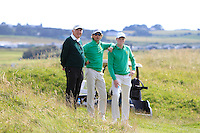 Brian Hutchinson (Chief Referee), Neil Manchip (G.U.I National Coach) and Robin Dawson (IRL) at the 14th green during the Afternoon Singles between Ireland and Wales at the Home Internationals at Royal Portrush Golf Club on Thursday 13th August 2015.<br /> Picture:  Thos Caffrey / www.golffile.ie