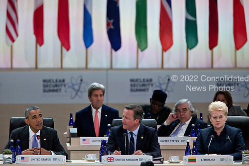 United States President Barack Obama, left, speaks during a closing session with David Cameron, U.K. prime minister, center, and Dalia Grybauskaite, Lithuania's president, at the Nuclear Security Summit in Washington, D.C., U.S., on Friday, April 1, 2016. After a spate of terrorist attacks from Europe to Africa, Obama is rallying international support during the summit for an effort to keep Islamic State and similar groups from obtaining nuclear material and other weapons of mass destruction. Seated behind them are US Secretary of State John Kerry and US Secretary of Energy Ernest Moniz.<br /> Credit: Andrew Harrer / Pool via CNP