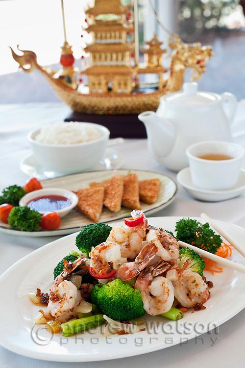 Stir-fried prawns with broccoli at Golden Boat Chinese Restaurant,  Cairns, Quensland, Australia