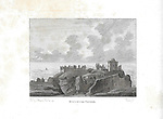 Engravings of Scottish landscapes and buildings from late eighteenth century, Dunotter castle, Scotland, UK