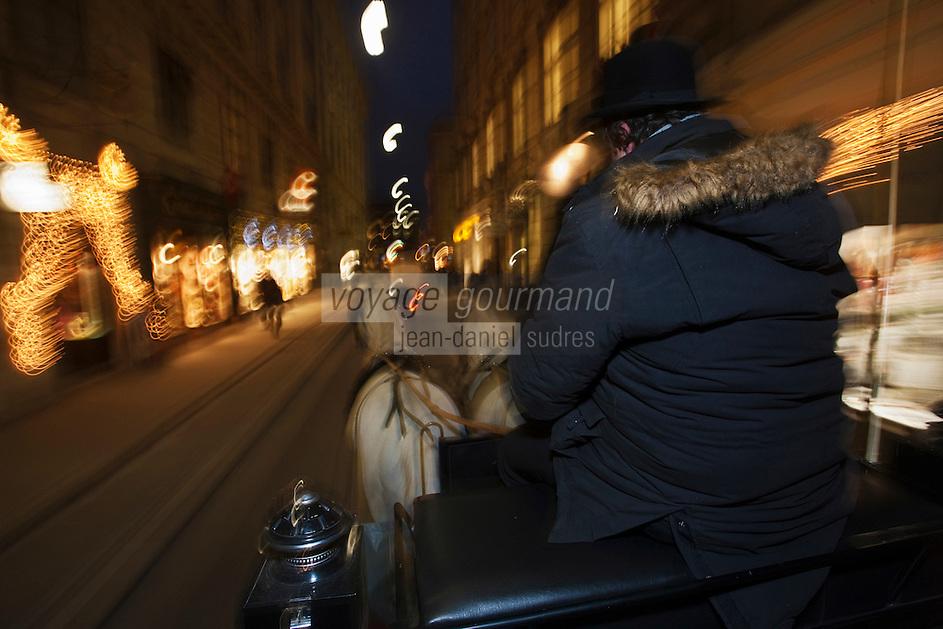 Europe/Autriche/Niederösterreich/Vienne: Fiacre dans les rues de la vieille ville à Noël