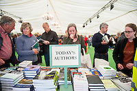 Hay on Wye, UK. Wednesday 01 June 2016<br /> Pictured:  People browse the book shop at the festival <br /> Re: The 2016 Hay festival take place at Hay on Wye, Powys, Wales
