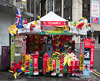 A general view of a memorabilia stall outside of the stadium<br /> <br /> Photographer Simon King/CameraSport<br /> <br /> International Rugby Union - 2017 Under Armour Series Autumn Internationals - Wales v Australia - Saturday 11th November 2017 - Principality Stadium - Cardiff<br /> <br /> World Copyright &copy; 2017 CameraSport. All rights reserved. 43 Linden Ave. Countesthorpe. Leicester. England. LE8 5PG - Tel: +44 (0) 116 277 4147 - admin@camerasport.com - www.camerasport.com