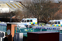 Police set up outside Villa park before the East Midlands derby between Aston Villa v Birmingham City. <br /> <br /> Photographer Leila Coker/CameraSport<br /> <br /> The EFL Sky Bet Championship - Aston Villa v Birmingham City - Sunday 11th February 2018 - Villa Park - Birmingham<br /> <br /> World Copyright &copy; 2018 CameraSport. All rights reserved. 43 Linden Ave. Countesthorpe. Leicester. England. LE8 5PG - Tel: +44 (0) 116 277 4147 - admin@camerasport.com - www.camerasport.com