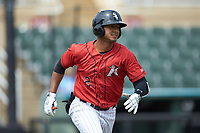Lenyn Sosa (2) of the Kannapolis Intimidators hustles down the first base line against the Lexington Legends at Kannapolis Intimidators Stadium on May 15, 2019 in Kannapolis, North Carolina. The Legends defeated the Intimidators 4-2. (Brian Westerholt/Four Seam Images)