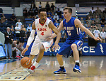February 20, 2016 - Colorado Springs, Colorado, U.S. -   New Mexico guard, Elijah Brown #4, works the sideline during an NCAA basketball game between the University of New Mexico Lobos and the Air Force Academy Falcons at Clune Arena, United States Air Force Academy, Colorado Springs, Colorado.    Air Force defeats New Mexico 76-72.
