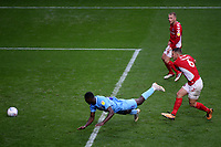 Amadou Bakayoko dives full length to score Coventry City's second goal during Charlton Athletic vs Coventry City, Sky Bet EFL League 1 Football at The Valley on 6th October 2018