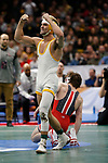 CLEVELAND, OH - MARCH 16: Bryce Meredith, of Wyoming, reacts after defeating Joey McKenna, of Ohio State, in the 141 weight class during the Division I Men's Wrestling Championship held at Quicken Loans Arena on March 16, 2018 in Cleveland, Ohio. (Photo by Jay LaPrete/NCAA Photos via Getty Images)