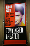 Theatre Marquee for the Off-Broadway Opening Night performance of the Second Stage Production on 'Torch Song'  on October 19, 2017 at Tony Kiser Theater in New York City.