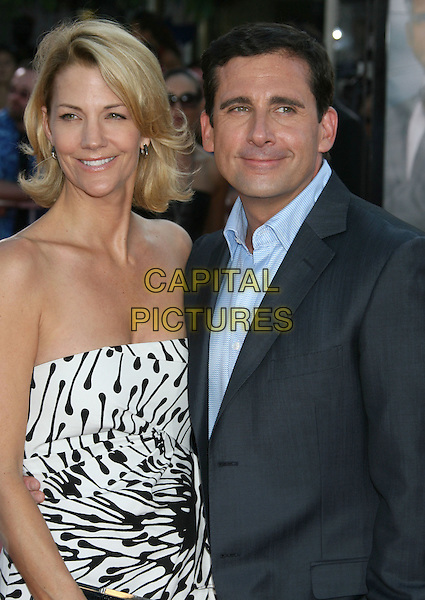 "NANCY WALLS & STEVE CARELL.""Get Smart"" Los Angeles Premiere held at Mann's Village Theatre, Westwood, California, USA..June 16th, 2008.half length black white pattern strapless blue suit jacket married husband wife dress.CAP/ADM/MJ.©Michael Jade/AdMedia/Capital Pictures."