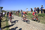 The peloton with Tony Martin (GER) Team Katusha Alpecin on the front on pave sector 25 Briastre a Solesmes during the 115th edition of the Paris-Roubaix 2017 race running 257km Compiegne to Roubaix, France. 9th April 2017.<br /> Picture: Eoin Clarke | Cyclefile<br /> <br /> <br /> All photos usage must carry mandatory copyright credit (&copy; Cyclefile | Eoin Clarke)