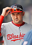 11 April 2012: Washington Nationals third baseman Ryan Zimmerman stands in the dugout prior to a game against the New York Mets at Citi Field in Flushing, New York. The Nationals shut out the Mets 4-0 to take the rubber match of their 3-game series. Mandatory Credit: Ed Wolfstein Photo