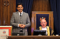 Pictured L-R: Chris Coleman with Lord Mayor for Swansea Councillor David Hopkins during the Freedom of the City formality Thursday 20 October 2016<br />