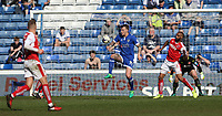 Oldham Athletic's Lee Erwin controls the ball before turning and shooting past Fleetwood Town's goalkeeper Alex Cairns to score his sides second goal<br /> <br /> Photographer Stephen White/CameraSport<br /> <br /> The EFL Sky Bet League One - Oldham Athletic v Fleetwood Town - Saturday 8th April 2017 - SportsDirect.com Park - Oldham<br /> <br /> World Copyright &copy; 2017 CameraSport. All rights reserved. 43 Linden Ave. Countesthorpe. Leicester. England. LE8 5PG - Tel: +44 (0) 116 277 4147 - admin@camerasport.com - www.camerasport.com