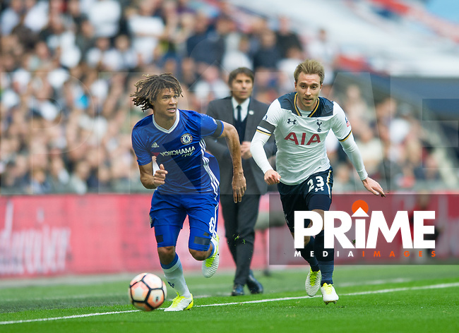 Chelsea's Nathan Ake and Tottenham's Christian Eriksen during the FA Cup Semi Final match between Chelsea and Tottenham Hotspur at Wembley Stadium, London, England on 22 April 2017. Photo by Andrew Aleksiejczuk / PRiME Media Images.