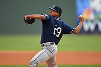 Starting pitcher Erick Julio (29) of Asheville Tourists delivers a pitch in a game against the Greenville Drive on Wednesday, May 3, 2017, at Fluor Field at the West End in Greenville, South Carolina. Greenville won, 8-0. (Tom Priddy/Four Seam Images)