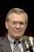 United States Secretary of Defense-designate Donald Rumsfeld testifies before the US Senate Armed Services Committee on Capitol Hill on January 11, 2001.   The committee is considering Rumsfeld's nomination to that cabinet post. <br /> Credit: Ron Sachs / CNP